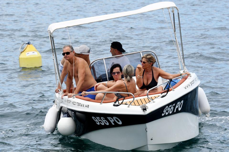 American tourists on a a boat in Adriatic sea in Croatia