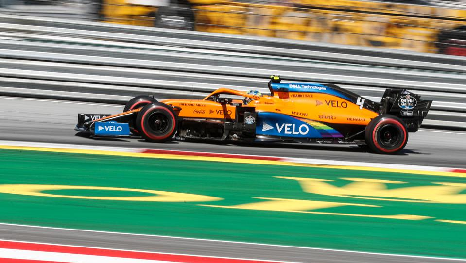 Lando Norris steers his McLaren to third place giving the team its best start to an F1 season since 2014 (Darko Bandic / POOL / AFP) (Photo by DARKO BANDIC/POOL/AFP via Getty Images)