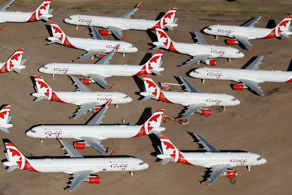 Commercial Airlines Park Dormant Planes At Pinal Airpark Outside Of Tucson, Arizona