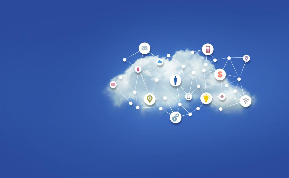 White Cloud with many computer symbol icons and White Dots with Lines Connecting on Bright Blue Sky Background