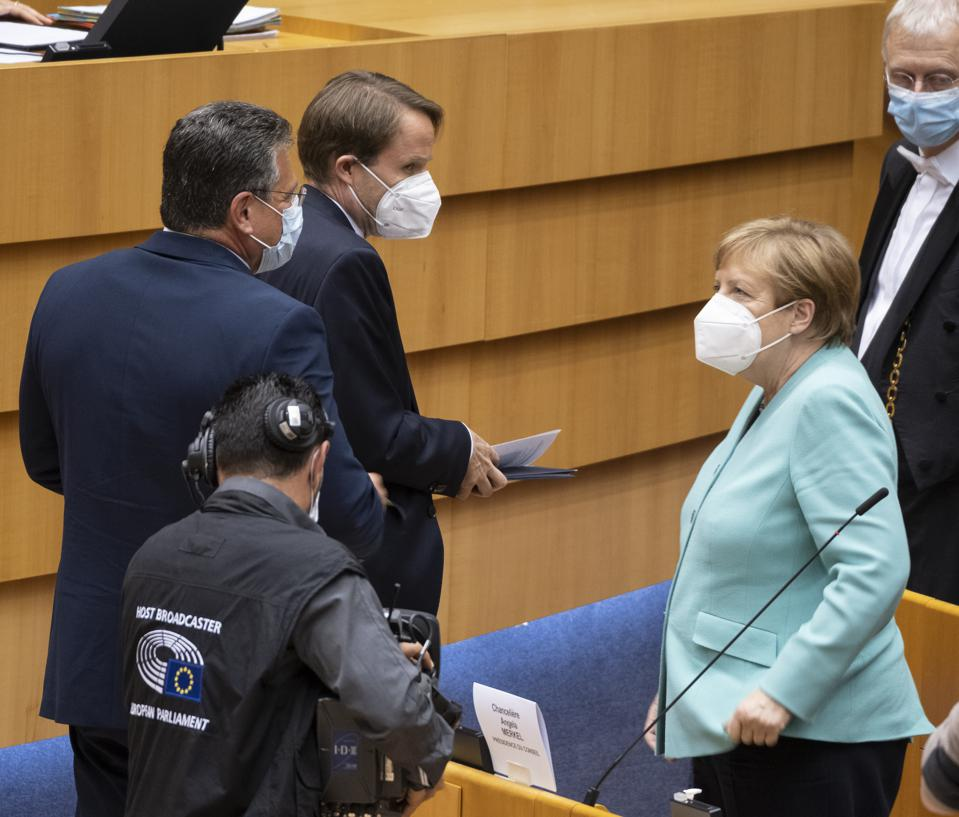 EU Parliament in Brussels - Chancellor Merkel