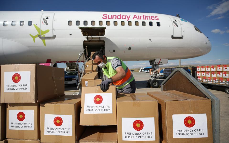 A Turkish flight prepares to send coronavirus medical supplies to Kazakhstan on July 13.
