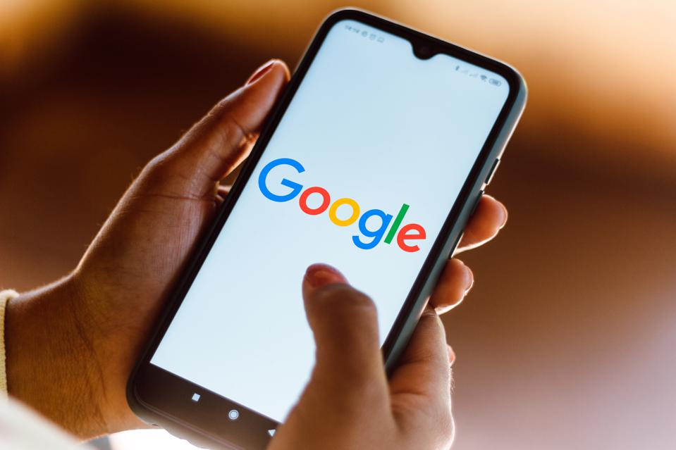 Google logo seen displayed on smartphone screen