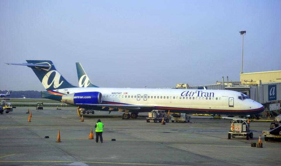 This photo shows an AirTran Airways jet