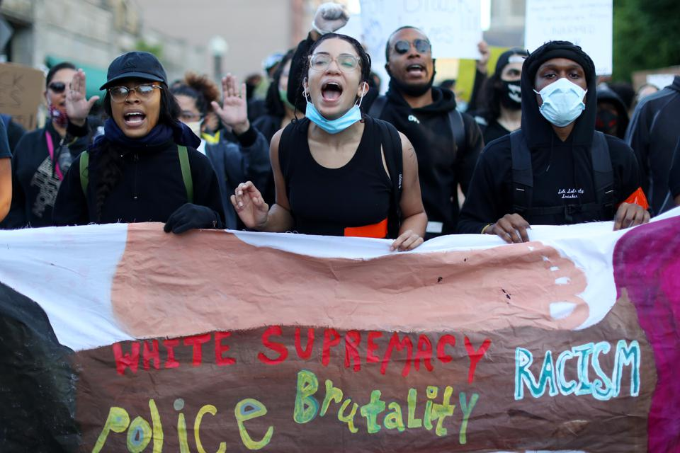 Protest Held In Boston Against Police Brutality In Death Of George Floyd