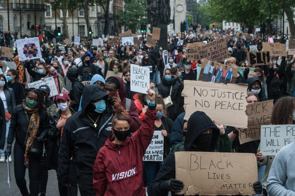 Protesters at a Black Lives Matter demonstration in London