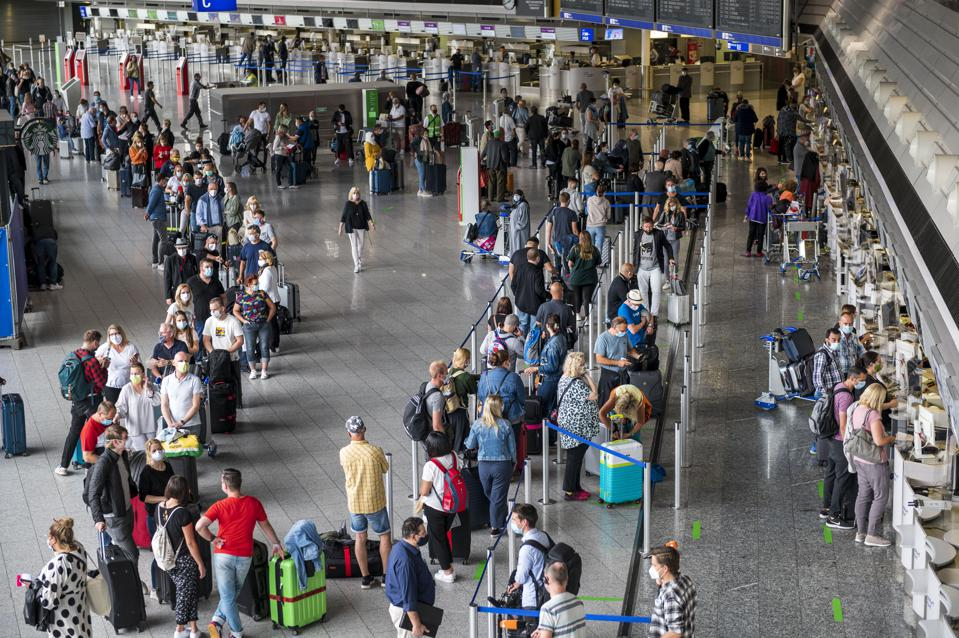 German Tourists leave for Mallorca from Frankfurt airport after Covid crisis