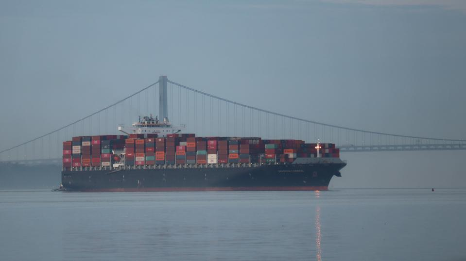 Cargo Ship Arrives in Port in Jersey City, New Jersey