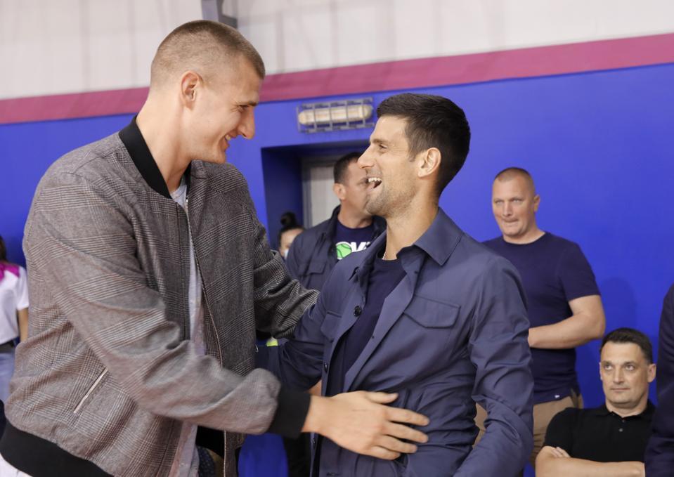 Nikola Jokic from Denver Nuggets meets with Tennis Player Novak Djokovic