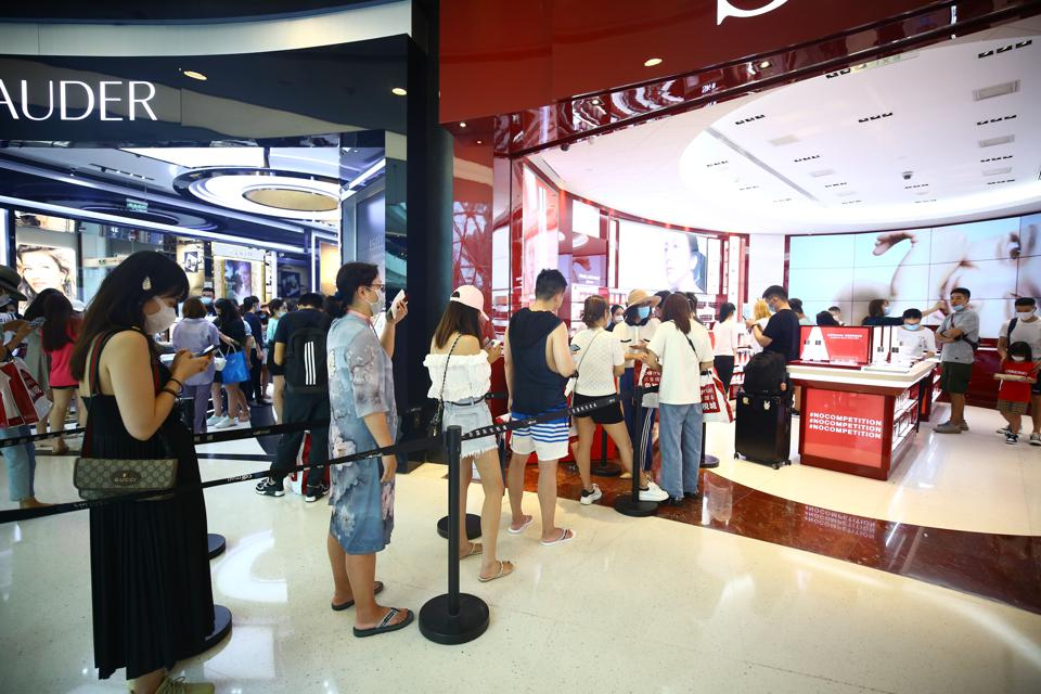 Sanya Duty Free Shopping Center showing a line-up of shoppers