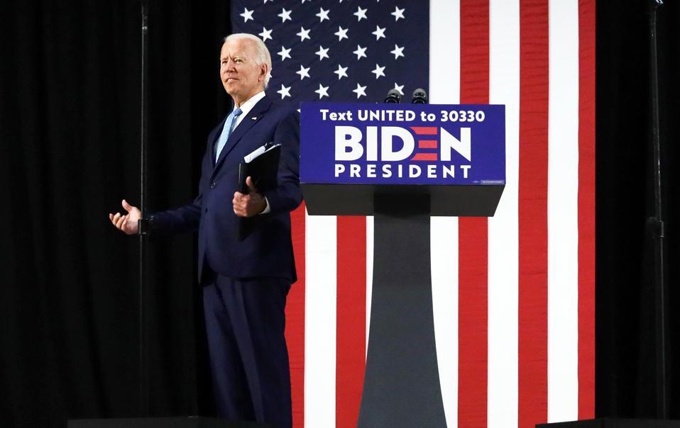 Presidential Candidate Joe Biden Delivers Remarks In Delaware