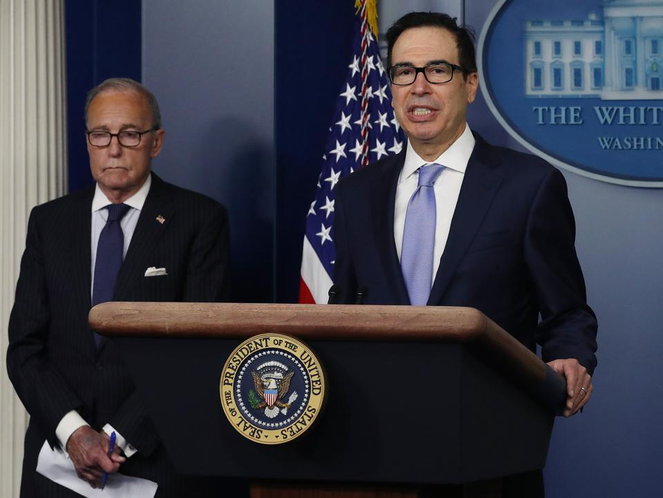 Steven Mnuchin and Larry Kudlow both made comments about the inclusion of a second stimulus check in the next coronavirus relief bill.