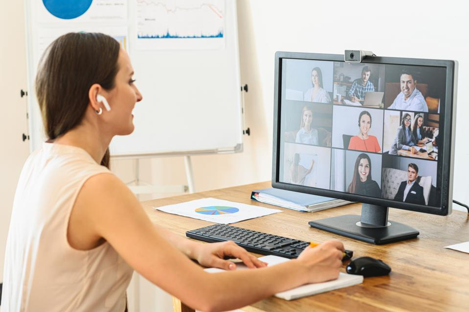 Woman is using app for video connect, video call