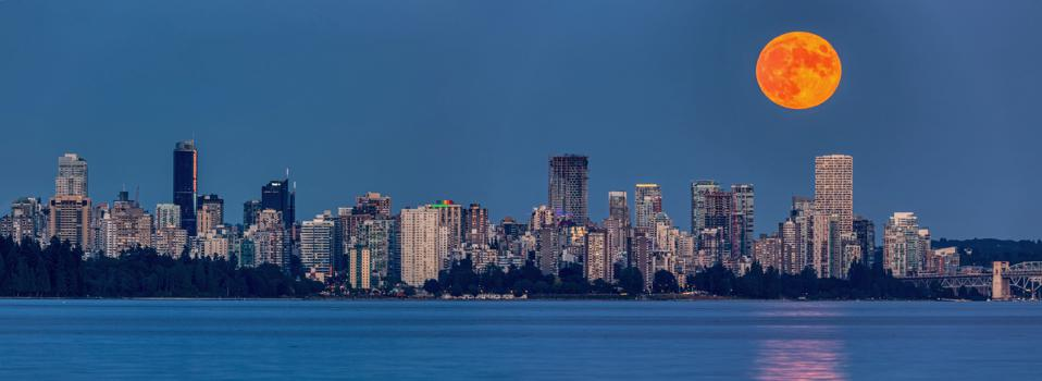 Buck Moon (July's full moon) rising above Downtown Vancouver