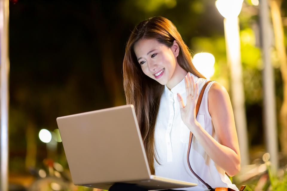 asian woman has video chat