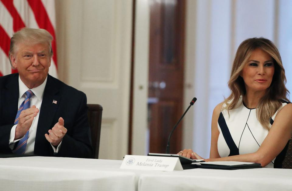 U.S. President Donald Trump with Melania Trump safe Reopening Nation's Schools