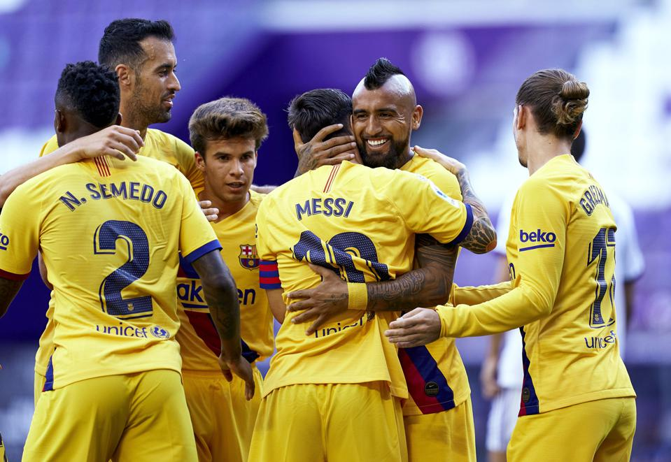 Barcelona's Lionel Messi provided an assist for Arturo Vidal to score against Valladolid