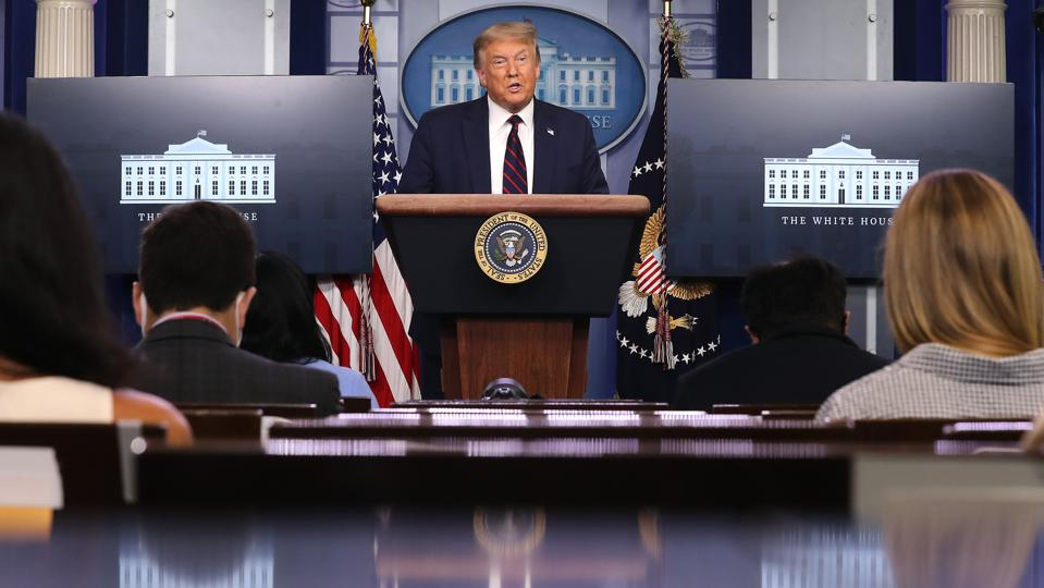 President Donald Trump Holds White House Press Briefing