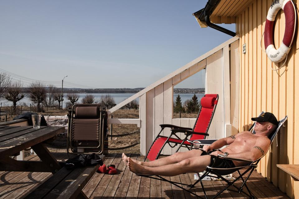 An inmate sunbathes at Bastøy Prison in Norway.