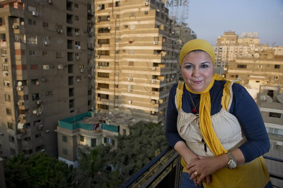 Esraa Abdel Fattah at the Egyptian Democratic Academy in October 2011 in in Cairo, Egypt.