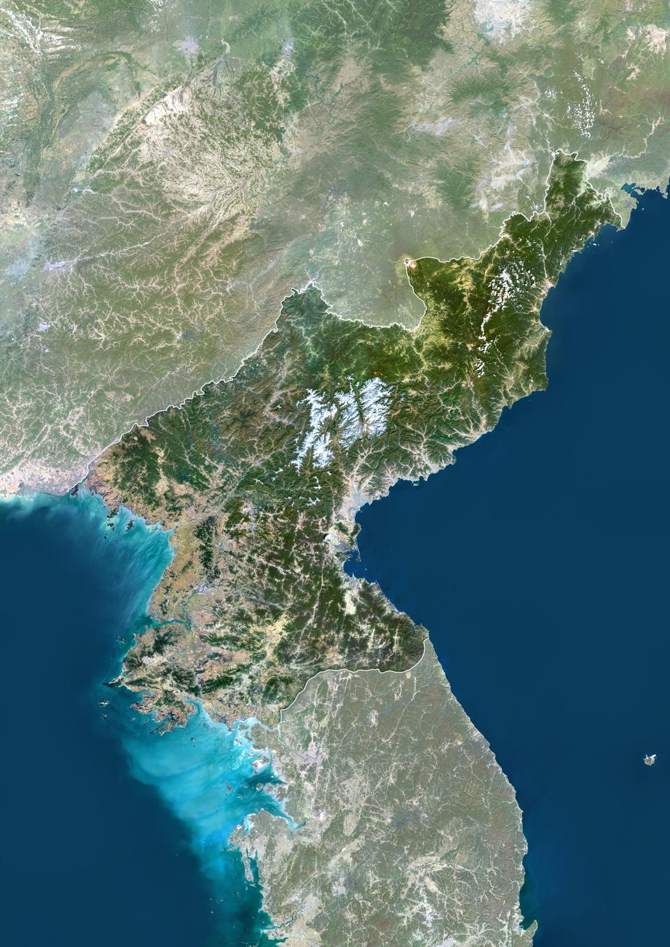 North Korea, Asia, True Colour Satellite Image With Border And Mask