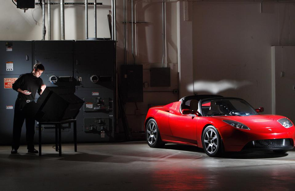 Tesla Motors engineer and chief technical officer JB Straubel with theTesla Roadster, the world's fastest electric sports car.