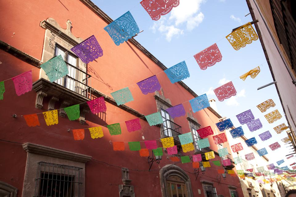 Decorative flags for Day of the Dead. It's one of the best places to visit.