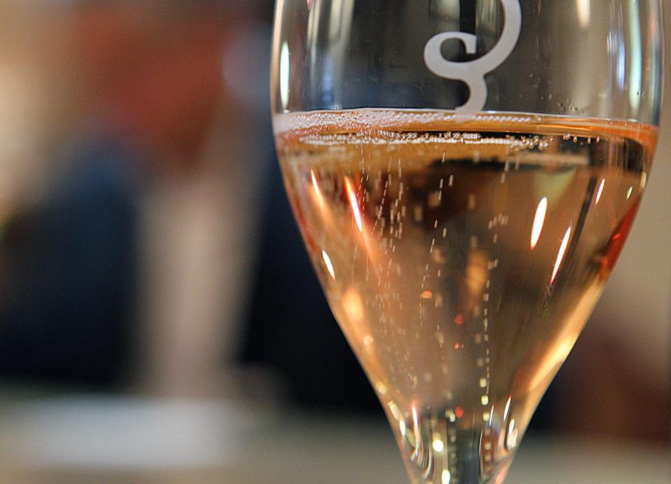 Glass of French rosé champagne