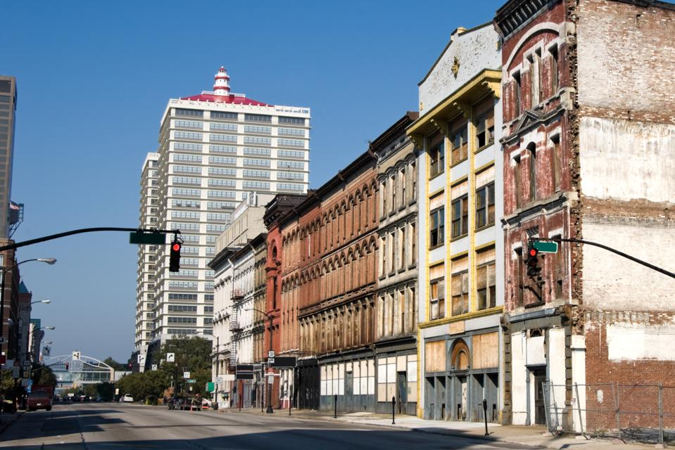 Downtown City Buildings, Old and Blighted Urban Area