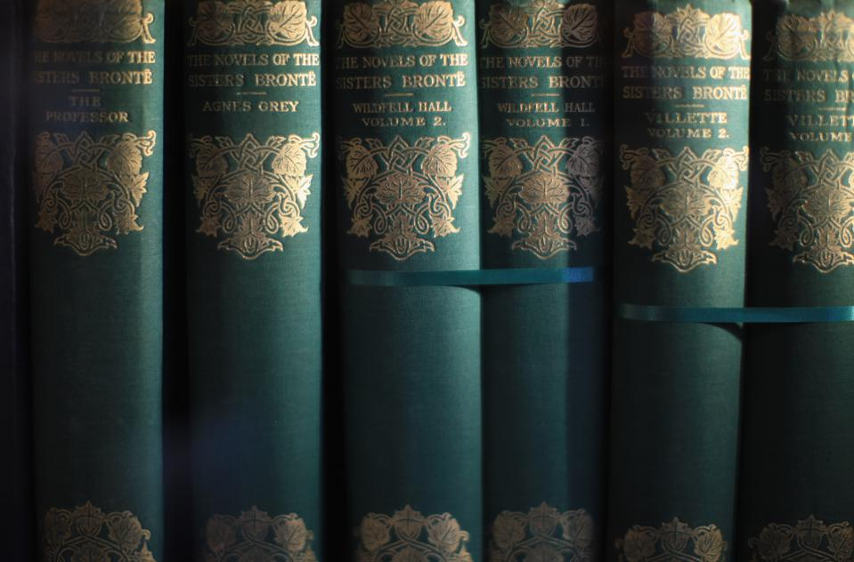 Bronte books on display at the Bronte Parsonage Museum. (Photo by Christopher Furlong/Getty Images)