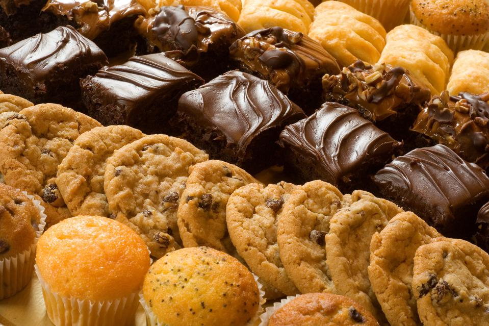 Cookies, brownies, muffins and other baked goods.