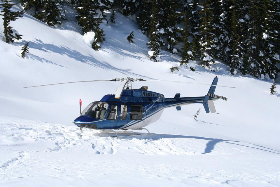 Helicopter at Heli Skiing Landing