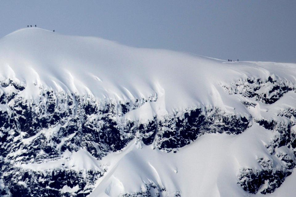 A ridge runs between two peaks in the Kebnekaise mountain range in northern Sweden.
