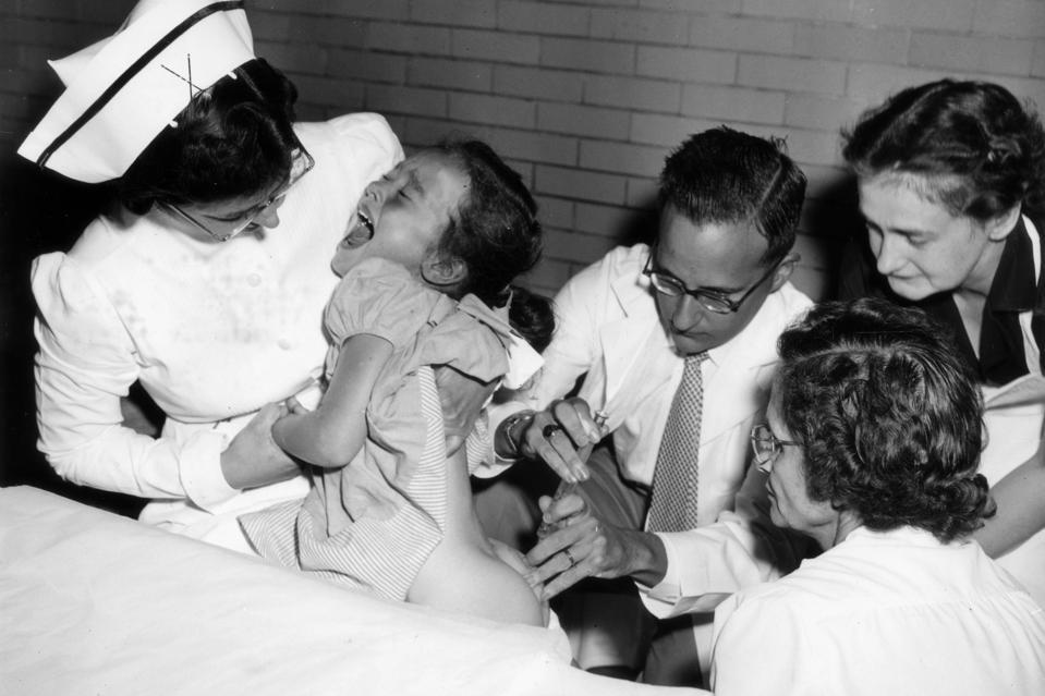 Jonas Salk Inoculating Polio Vaccine