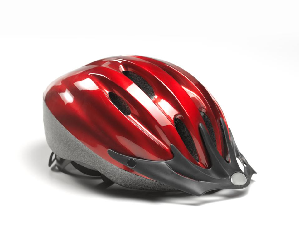 Close up of red cycle helmet