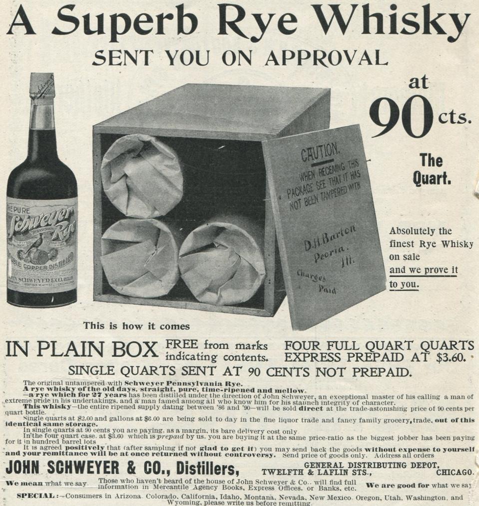Ad For Schweyer Rye Whisky