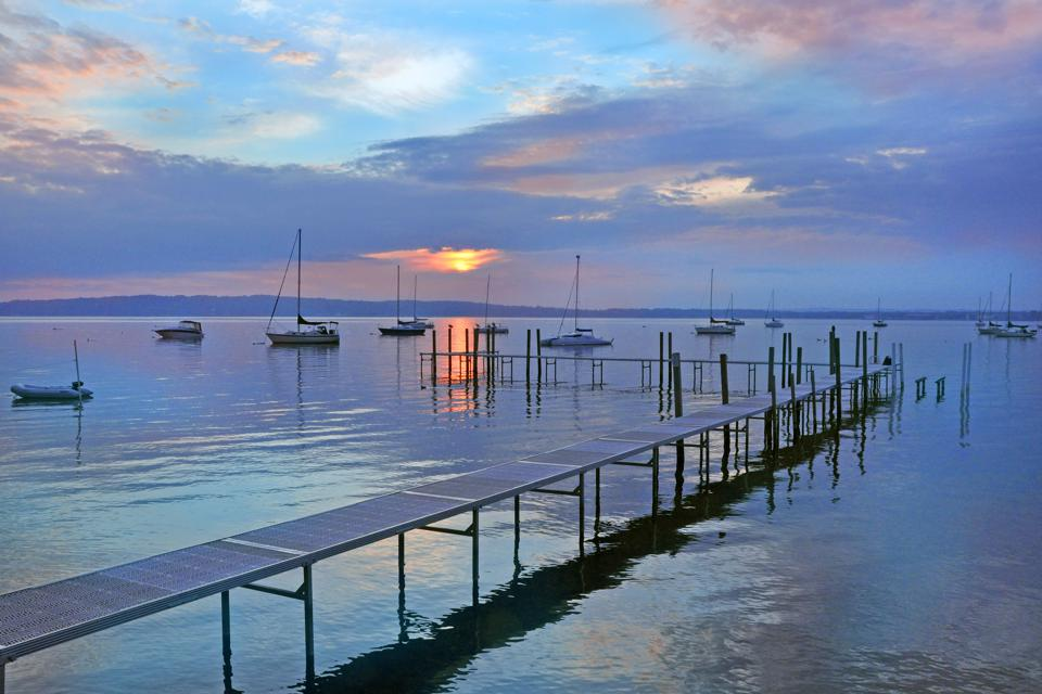 Ships and pier on West Bay in Traverse City, Michigan