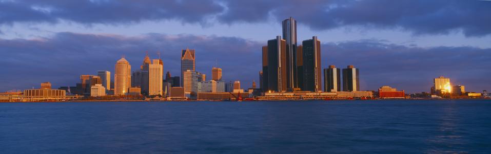 Renaissance Center, Detroit, Sunrise, Michigan