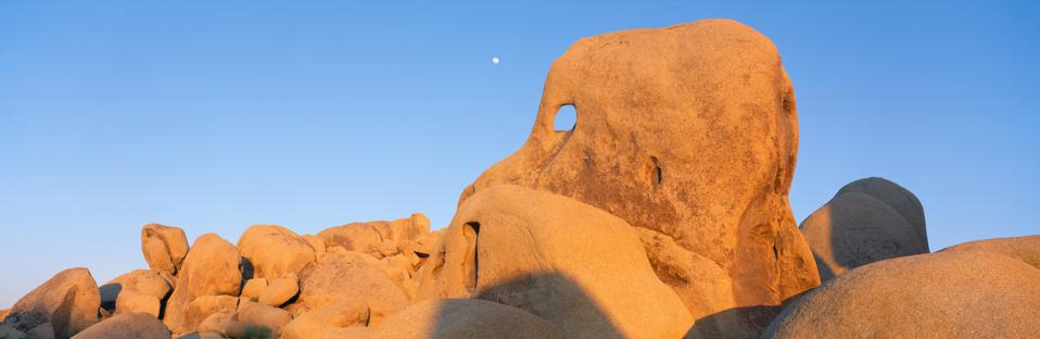Skeleton Rock and Moon at Sunset, Joshua Tree, California