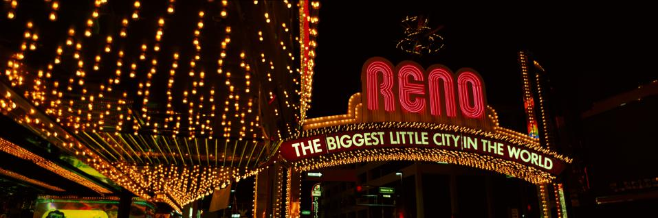 Panoramic view of Biggest Little City in America, Reno Nevada neon lights and casinos