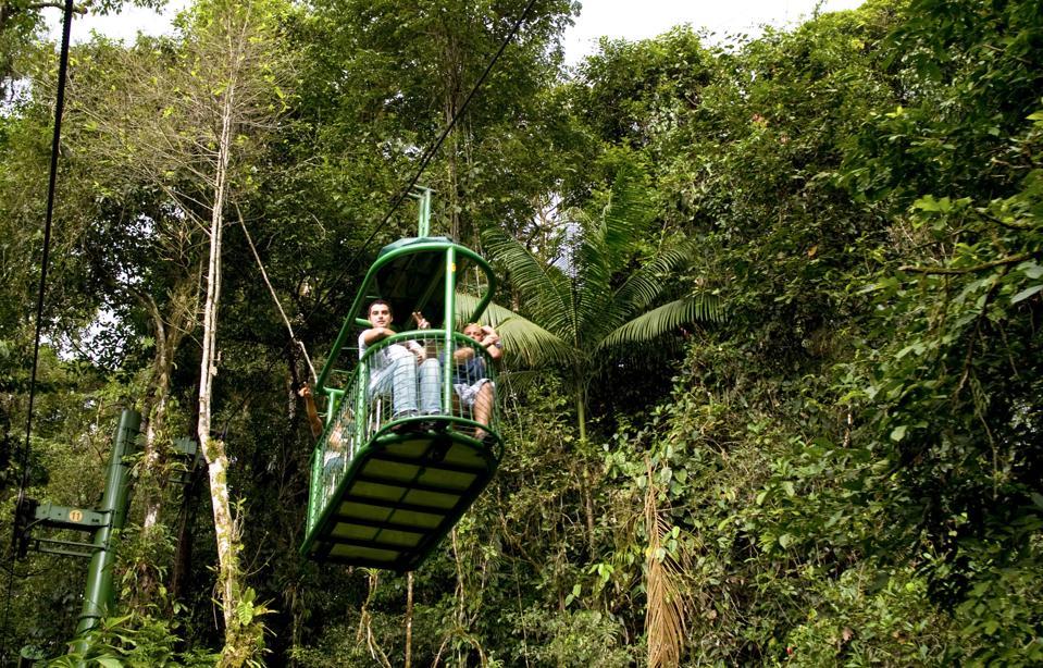 Tram Ride Over Top Of Rainforest In Parque Nacional Braulio Carrillo In Costa Rica.