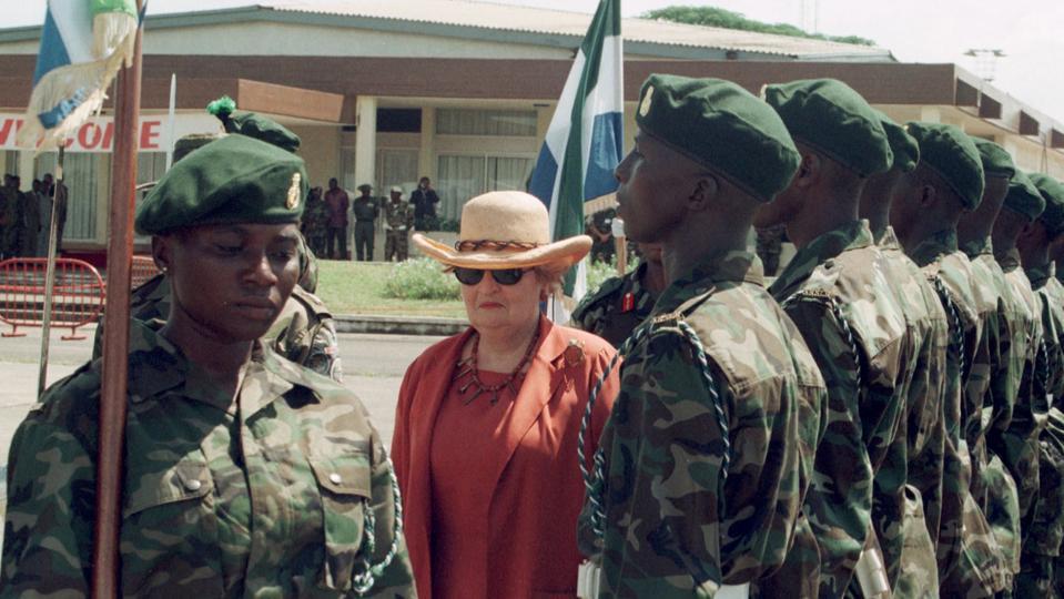 Former US Secretary of State Madeleine Albright in Sierra Leone