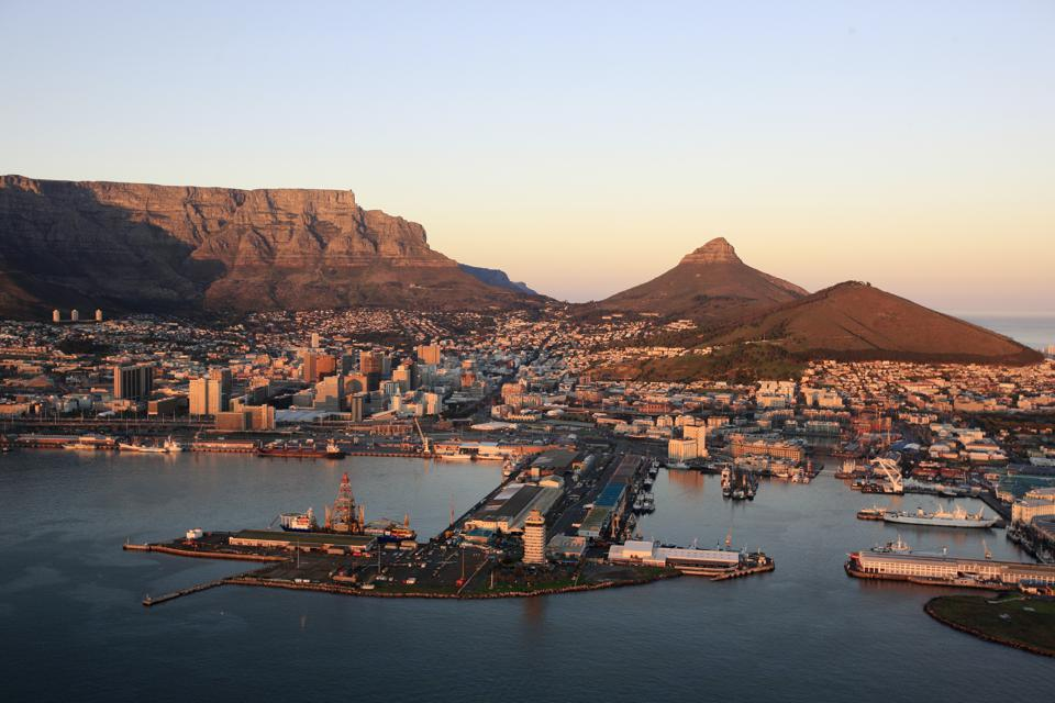 Aerial of Cape Town, South Africa with Table Mountain, Lion's Head and Harbour