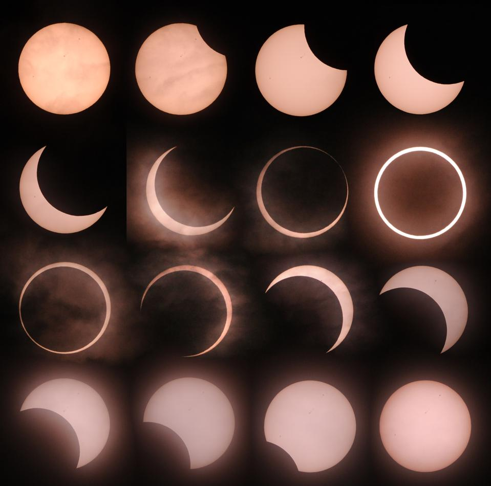 This combination picture shows an annular solar eclipse seen from Tokyo on May 21, 2012.