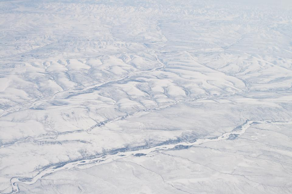Snow Covered Verkhoyansk Mountains Olenyok River Aerial Northern Siberia, Russia