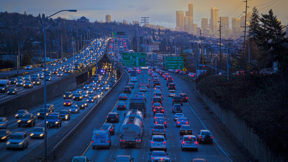 Rush hour traffic in Seattle