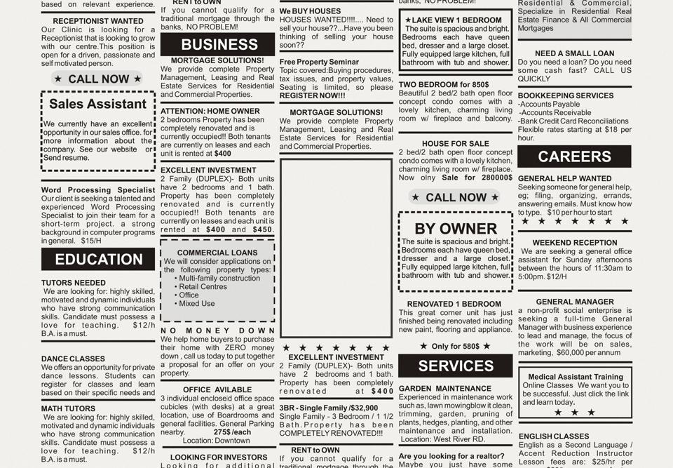 Group of black and white classified adverts in a newspaper