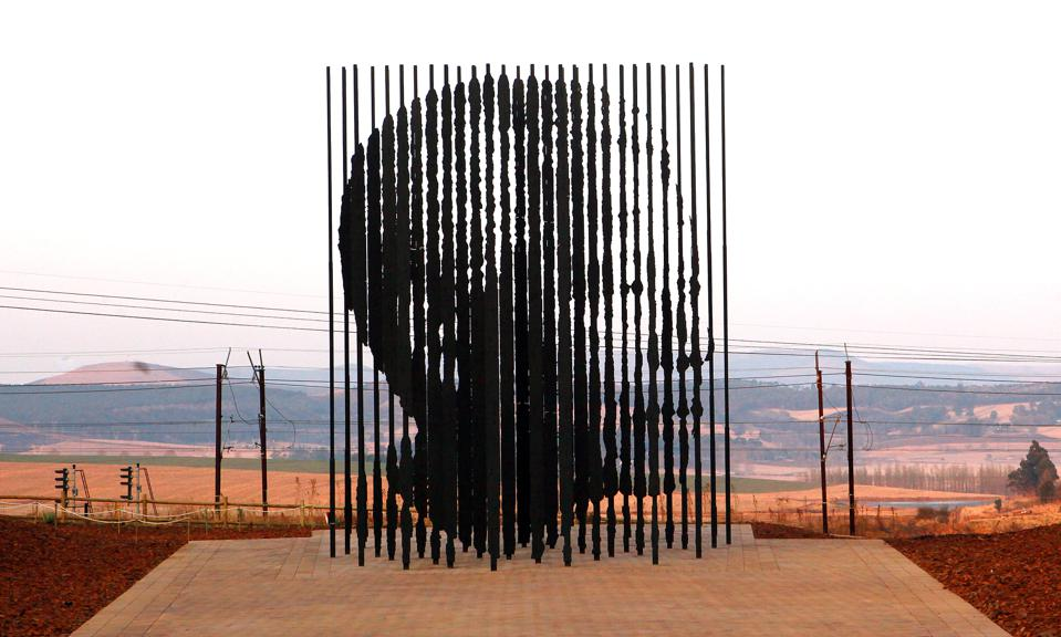 The sculpture at the Nelson Mandela Capture Site made of 50 steel poles which, when viewed from the perfect angle, depict Mandela's face in profile