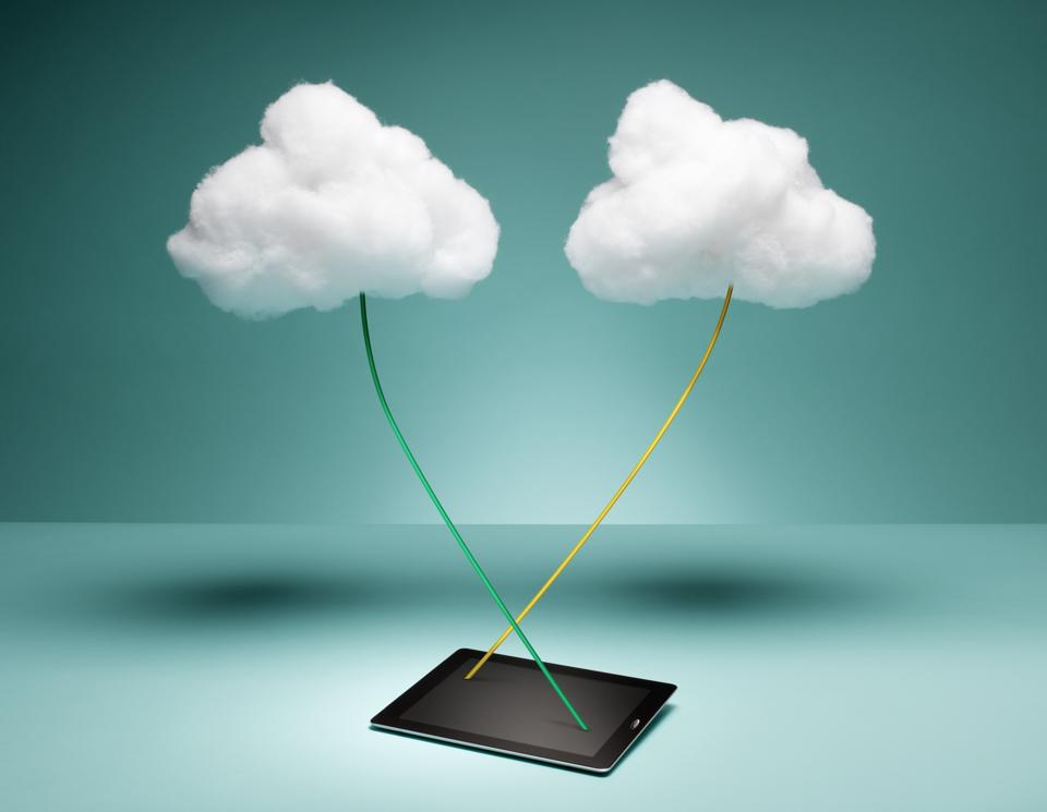 Two Clouds Connected to Digital Tablet