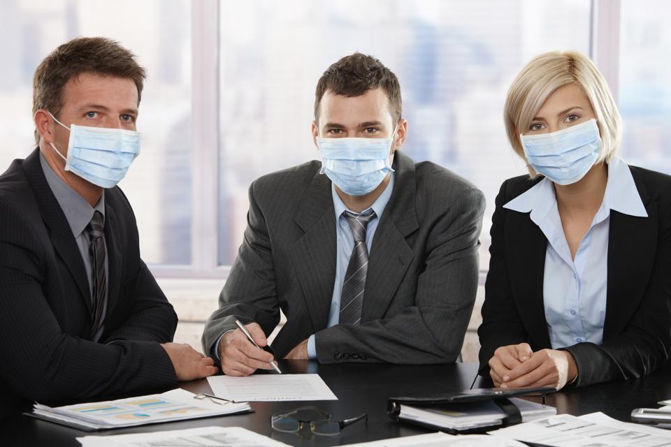 Business people fearing Coronavirus
